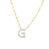 Gold / G Large CZ Uppercase Initial Link Necklace - Adina's Jewels