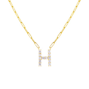 Gold / H Large CZ Uppercase Initial Link Necklace - Adina's Jewels