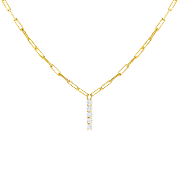 Gold / I Large CZ Uppercase Initial Link Necklace - Adina's Jewels