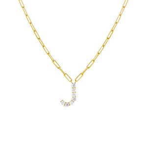 Gold / J Large CZ Uppercase Initial Link Necklace - Adina's Jewels