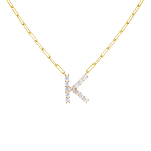 Gold / K Large CZ Uppercase Initial Link Necklace - Adina's Jewels