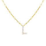 Large CZ Uppercase Initial Link Necklace - Adina's Jewels