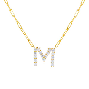 Gold / M Large CZ Uppercase Initial Link Necklace - Adina's Jewels