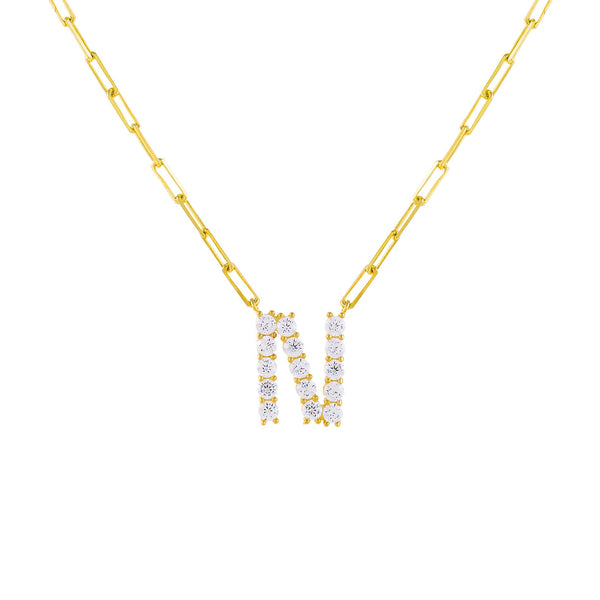 Gold / N Large CZ Uppercase Initial Link Necklace - Adina's Jewels