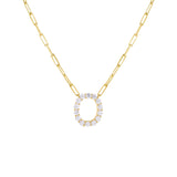 Gold / O Large CZ Uppercase Initial Link Necklace - Adina's Jewels