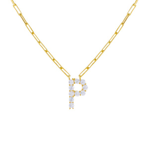 Gold / P Large CZ Uppercase Initial Link Necklace - Adina's Jewels