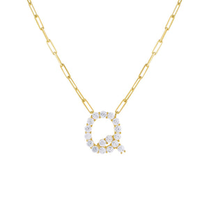 Gold / Q Large CZ Uppercase Initial Link Necklace - Adina's Jewels