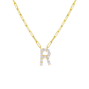 Gold / R Large CZ Uppercase Initial Link Necklace - Adina's Jewels