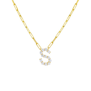 Gold / S Large CZ Uppercase Initial Link Necklace - Adina's Jewels