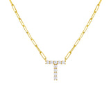 Gold / T Large CZ Uppercase Initial Link Necklace - Adina's Jewels
