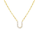 Gold / U Large CZ Uppercase Initial Link Necklace - Adina's Jewels