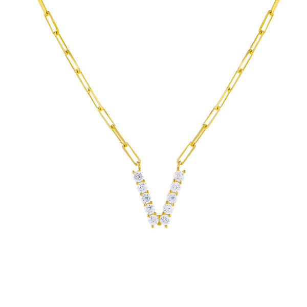 Gold / V Large CZ Uppercase Initial Link Necklace - Adina's Jewels