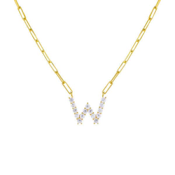 Gold / W Large CZ Uppercase Initial Link Necklace - Adina's Jewels