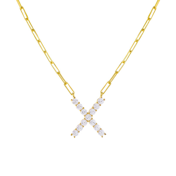 Gold / X Large CZ Uppercase Initial Link Necklace - Adina's Jewels