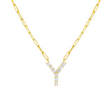 Gold / Y Large CZ Uppercase Initial Link Necklace - Adina's Jewels