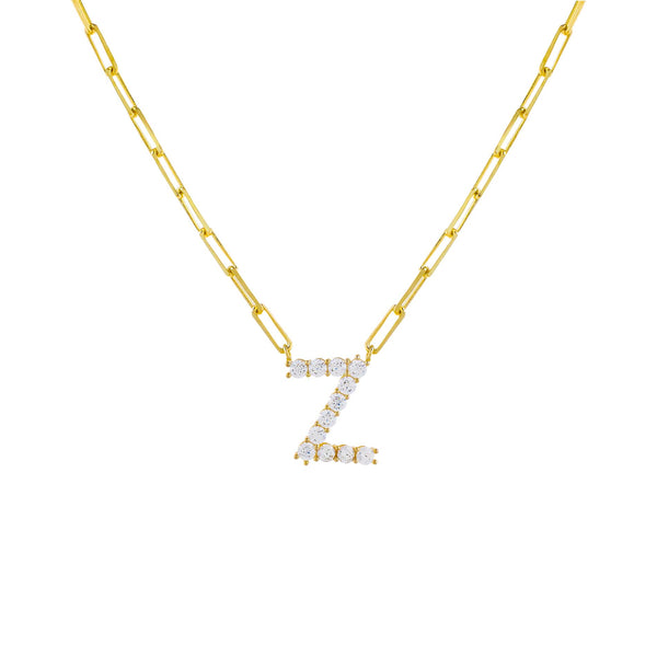 Gold / Z Large CZ Uppercase Initial Link Necklace - Adina's Jewels