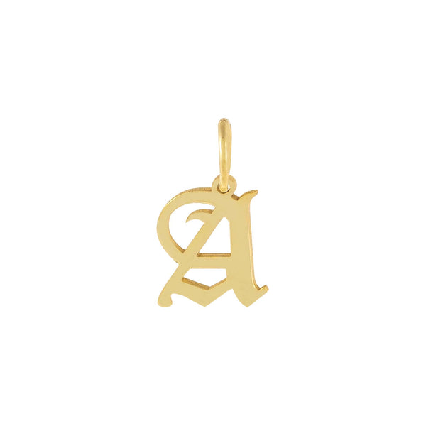 Gold / A Uppercase Old English Initial Necklace Charm - Adina's Jewels