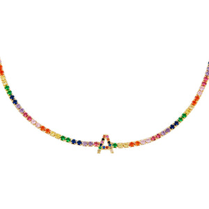 Multi-Color Rainbow Uppercase Initial Tennis Choker - Adina's Jewels