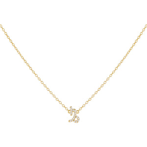 Gold / Capricorn Pavé Zodiac Necklace - Adina's Jewels