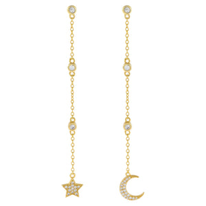 Gold CZ Celestial Chain Drop Earring - Adina's Jewels