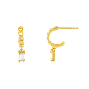 Gold CZ Baguette Cuban Hoop Earring - Adina's Jewels