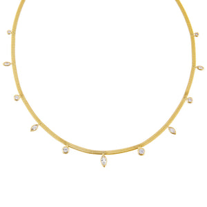 Gold CZ Multi Stone Herringbone Necklace - Adina's Jewels