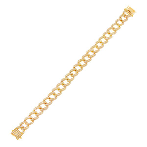 14K Gold Diamond Chunky Pavé Chain Link Bracelet 14K - Adina's Jewels