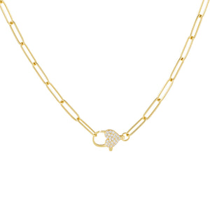 Gold Pavé Heart Clasp Link Necklace - Adina's Jewels