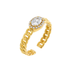 Gold CZ Oval Braided Ring - Adina's Jewels