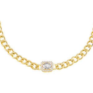 Gold CZ Colored Illusion Cuban Choker - Adina's Jewels