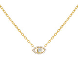 Gold CZ Colored Evil Eye Necklace - Adina's Jewels