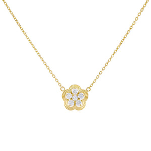 Gold CZ Illusion Flower Necklace - Adina's Jewels
