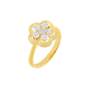 Gold / 6 CZ Illusion Flower Ring - Adina's Jewels