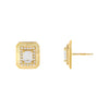 Gold CZ Illusion Baguette Ridged Stud Earring - Adina's Jewels