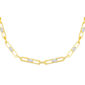 Gold CZ Colored Oval Link Choker - Adina's Jewels