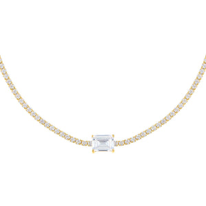 Gold CZ Colored Baguette Tennis Choker - Adina's Jewels