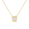 Gold CZ Illusion Baguette Ridged Necklace - Adina's Jewels