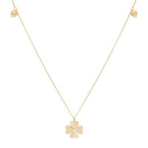Gold CZ Triple Clover Long Station Necklace - Adina's Jewels