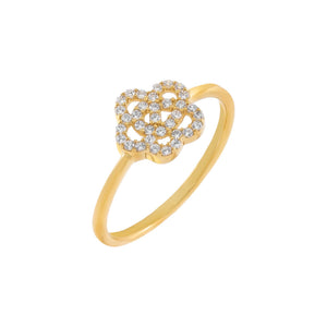 Gold / 6 Pavé Rose Flower Ring - Adina's Jewels