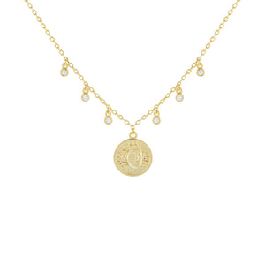 Gold CZ Bezel Coin Necklace - Adina's Jewels