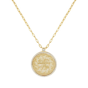 Gold Large Pavé Coin Link Necklace - Adina's Jewels