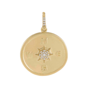 14K Gold Diamond Compass Coin Charm 14K - Adina's Jewels