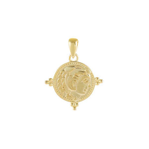Gold Beaded Coin Charm - Adina's Jewels