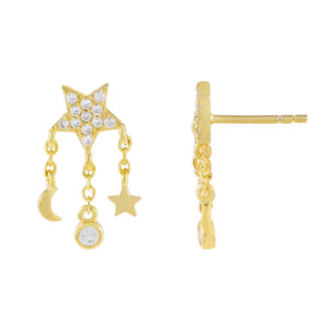 Gold CZ Celestial Charms Stud Earring - Adina's Jewels