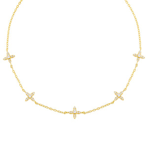 Gold CZ 4 Petal Flower Choker - Adina's Jewels
