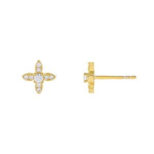 Gold CZ Crystal 4 Petal Flower Stud Earring - Adina's Jewels