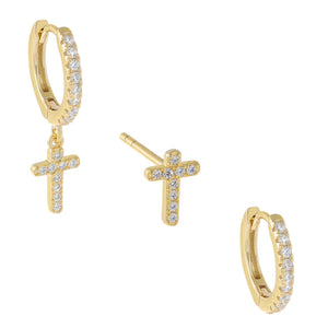 Gold Pavé Cross Earring Combo Set - Adina's Jewels