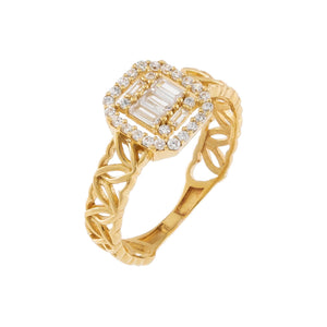 14K Gold / 6 CZ Illusion Baguette Heart Band 14K - Adina's Jewels
