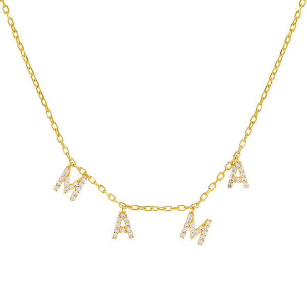 Gold Mini Pavé Mama Necklace - Adina's Jewels