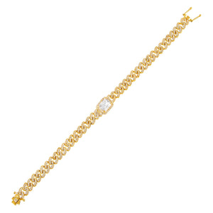Gold CZ Colored Baguette Chain Link Bracelet - Adina's Jewels